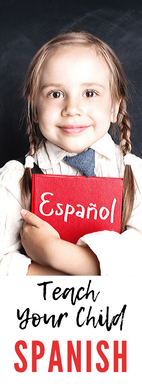 Kid learning spanish. Little girl with spanish book