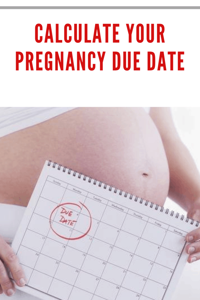 pregnant woman holding caledar with her due date circled in red in front of her pregnant belly