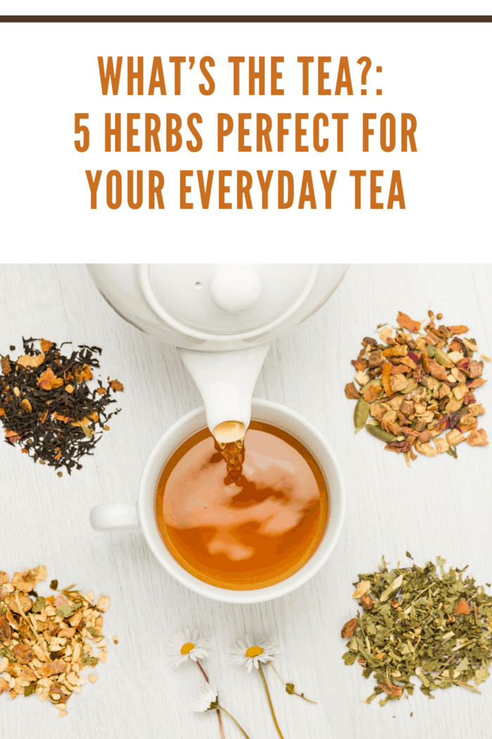 pouring tea into cup with variety of herbal tea on table