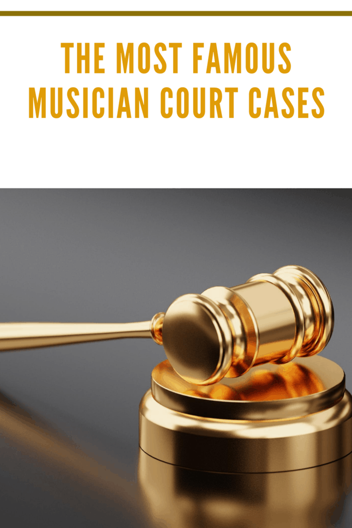 golden hammer and gavel representing most famous musician court cases