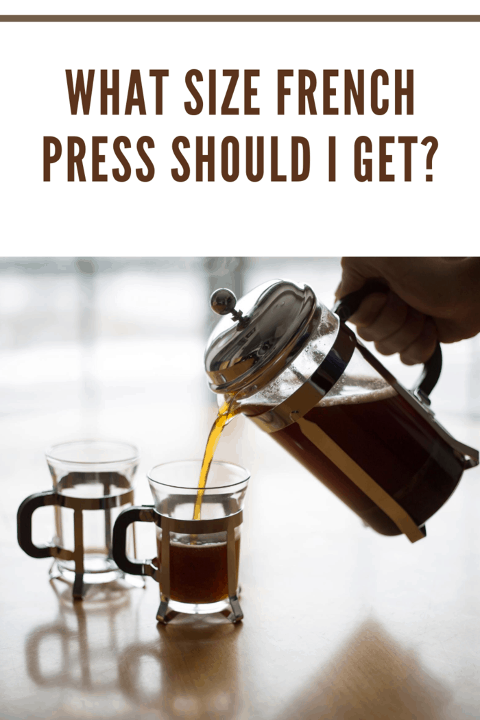 small french press carafe pouring coffee into small glass mugs