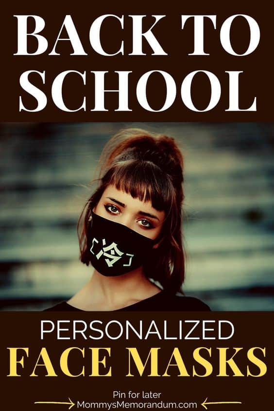 girl going back to school with personalized face mask