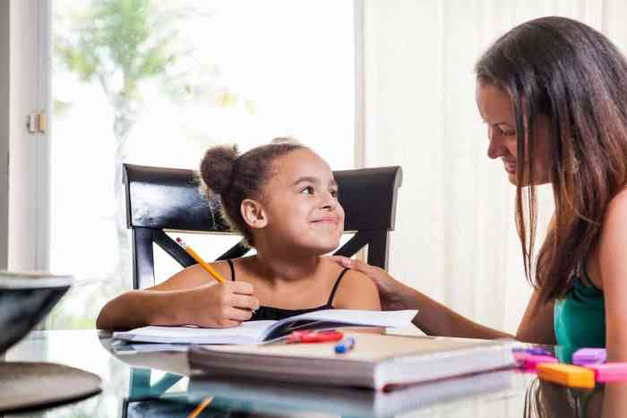 girl enjoying being with her tutor to help her with her school work