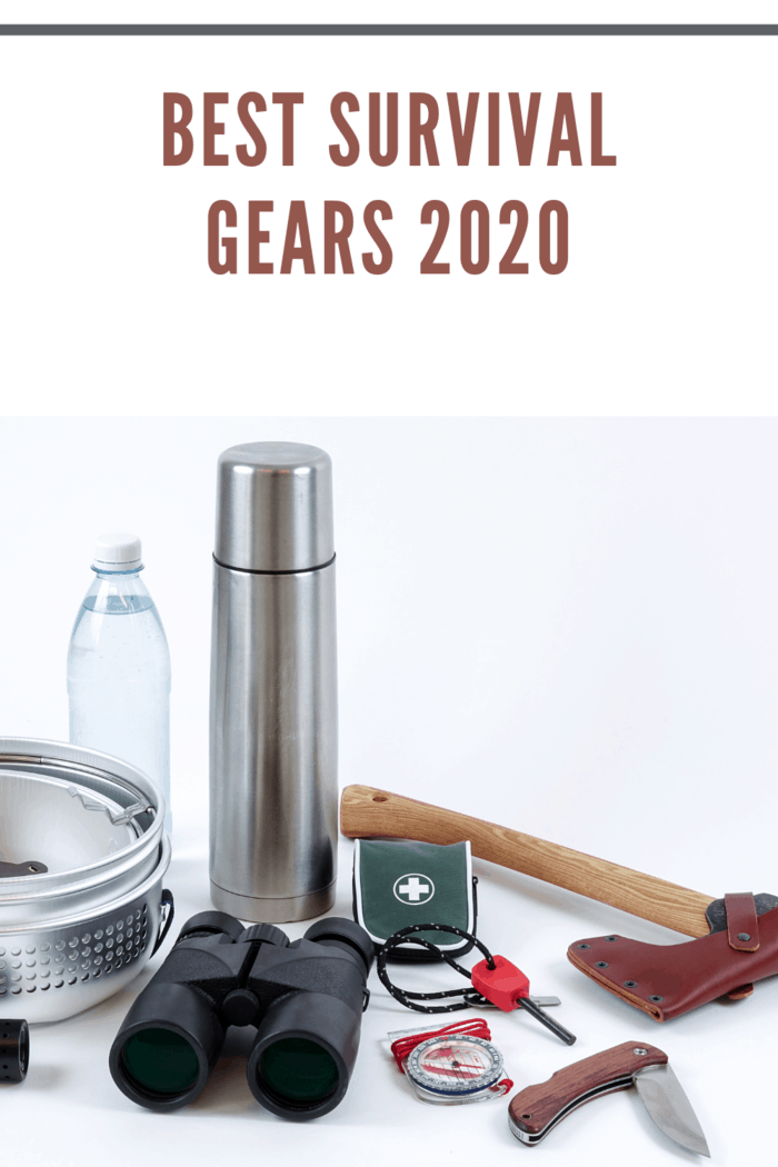 Survival Gears for a survival bag. Checklist for things / gears you need to survive in the wilderness. An ax, binoculars, flashlight, ignition steel, compass, first aid, etc.