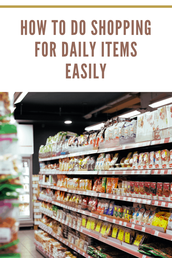 items organized on shelf for shopping daily items