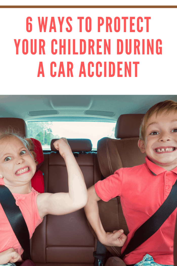 kids in car in matching red shirts making muscles because the parents know how to protect your kids in a car accident