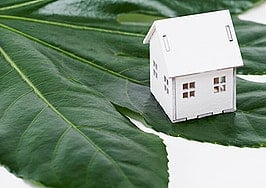 Concept of eco friendly home on big green leaf