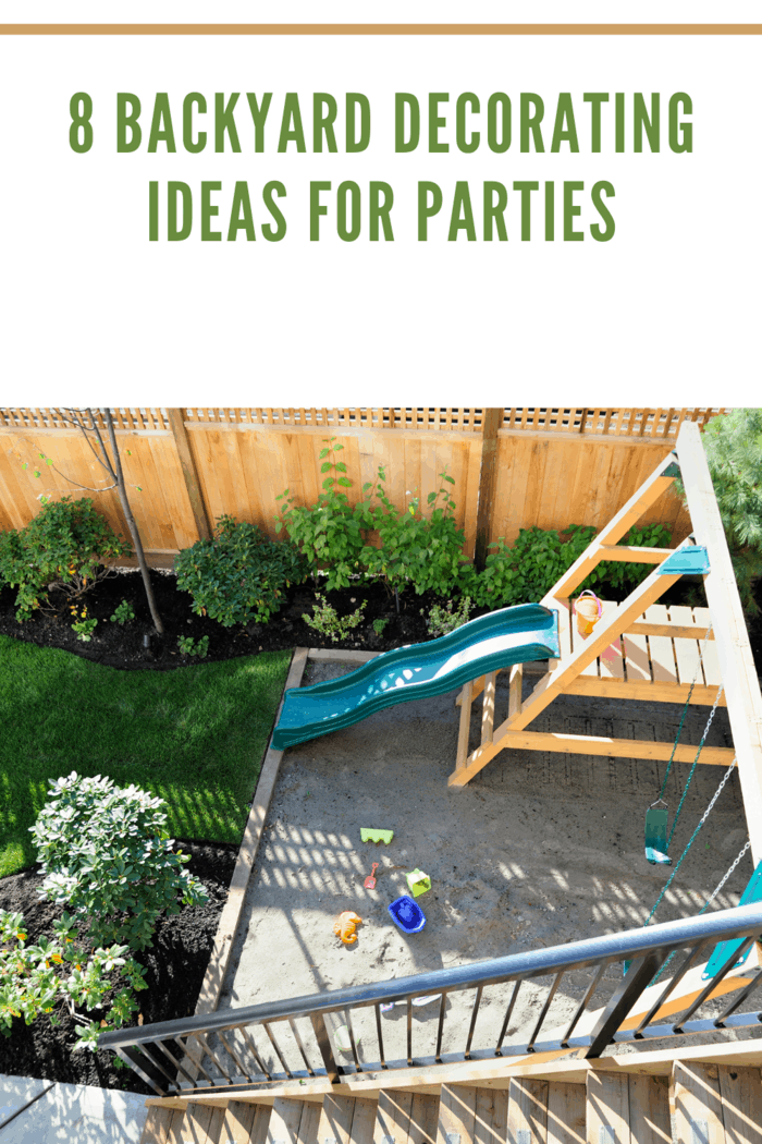 kid friendly backyard / with the slide and the swings and / all the other stuff