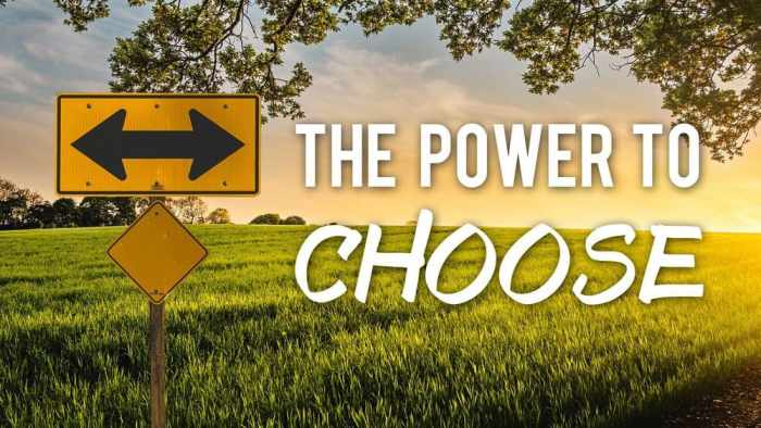road sigh with arrows pointing left and right with the words The power to choose overlay