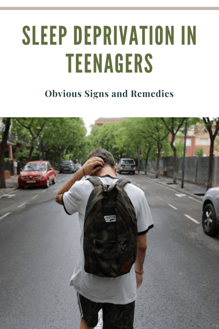 sleep deparation in teenagers represnted by teenage boy with backpack