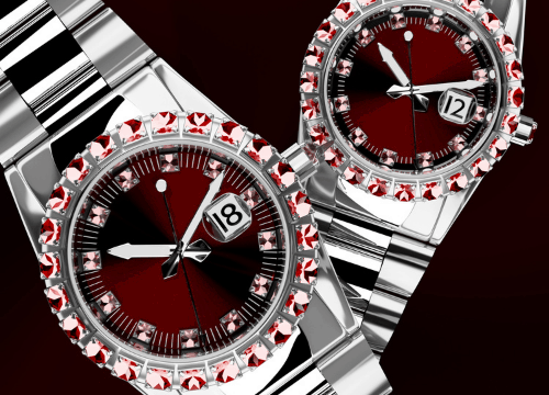 3d Jeweled luxury watches in the background 2 pcs.