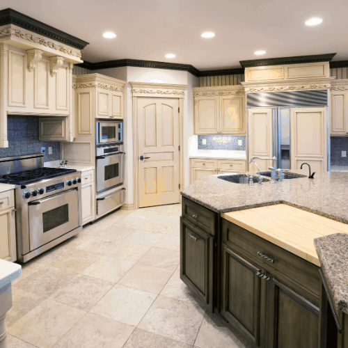 """""""Dream Kitchen With Granite Island, Ornate Carved Woodwork"""""""