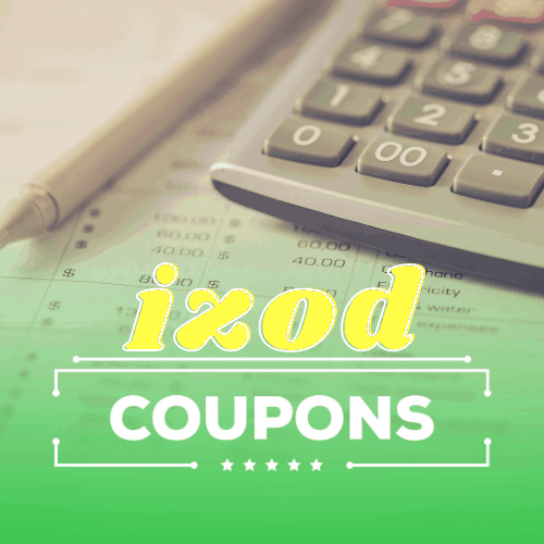 izod coupons text on green background overlay of calculator
