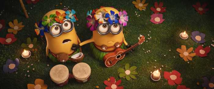 minions from despicable me 3 in hawaiian clothes