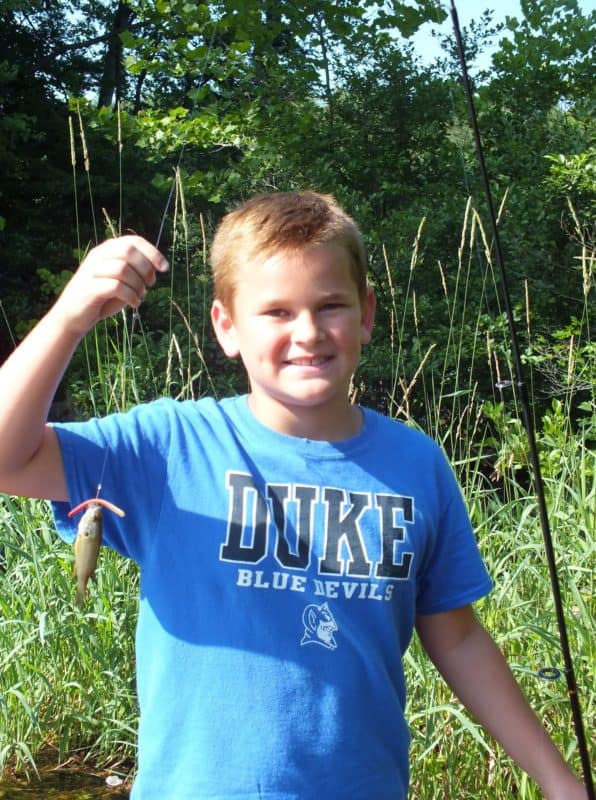 3:44pm Colby catches his FIRST fish of the day!