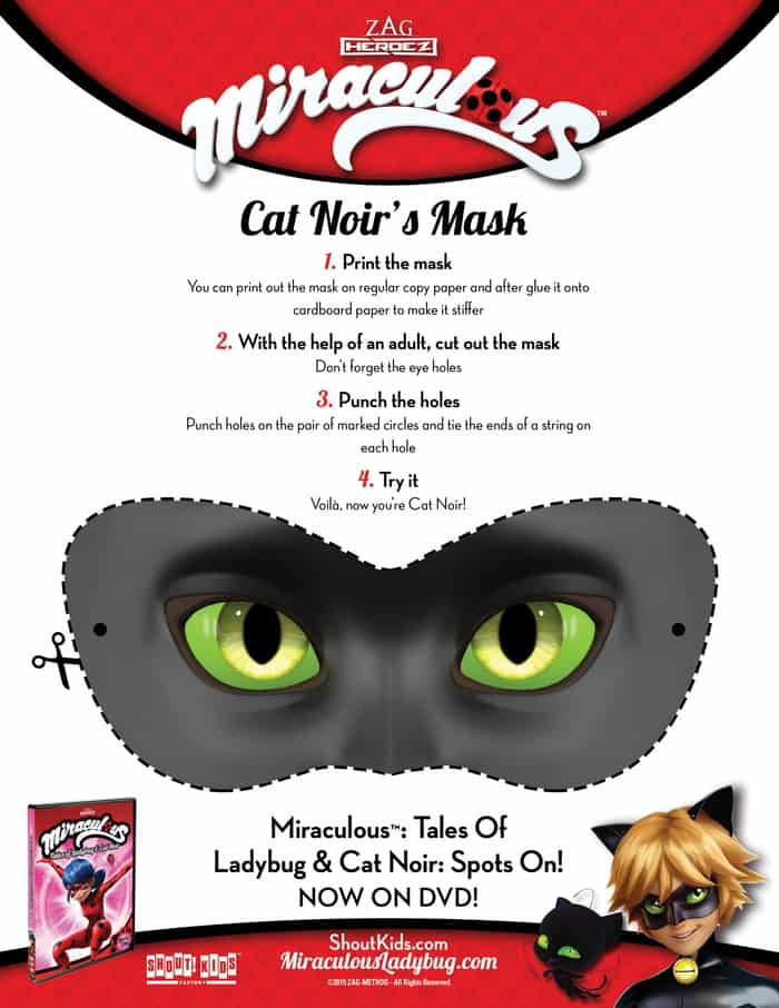 CatNoir Mask Activity Sheet Free Activity Sheets Ladybug Cat Noir