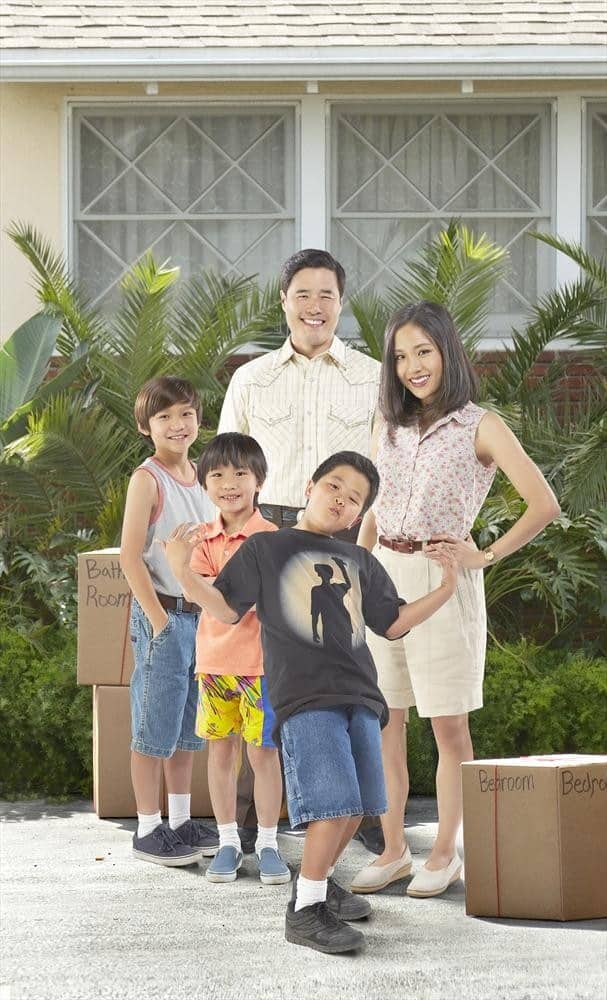 """""""Fresh Off the Boat"""" stars Forrest Wheeler as Emery, Ian Chen as Evan, Randall Park as Louis, Hudson Yang as Eddie and Constance Wu as Jessica. (ABC/Kevin Foley)"""