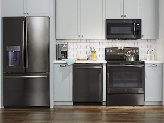 GE Kitchen with black stainless steel appliances