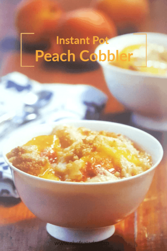 This Instant Pot Lip Smacking Peach Cobber is easy with just 5 ingredients! Serve warm with a scoop of vanilla ice cream for the perfect treat!
