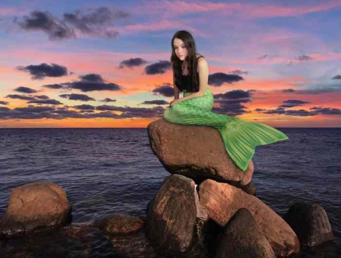 mermaid on rock