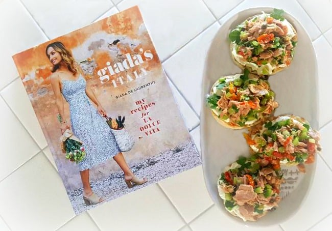 Sicilian tuna salad sandwich giadas italy on counter with cookbook