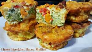 Cheesy Breakfast Bacon Muffins #Recipe