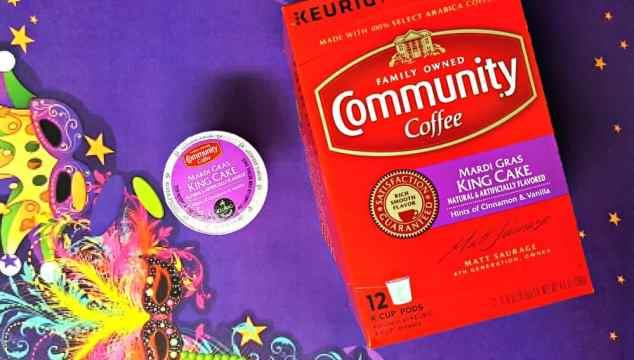 community coffee mardis gras king cake coffee k-cups