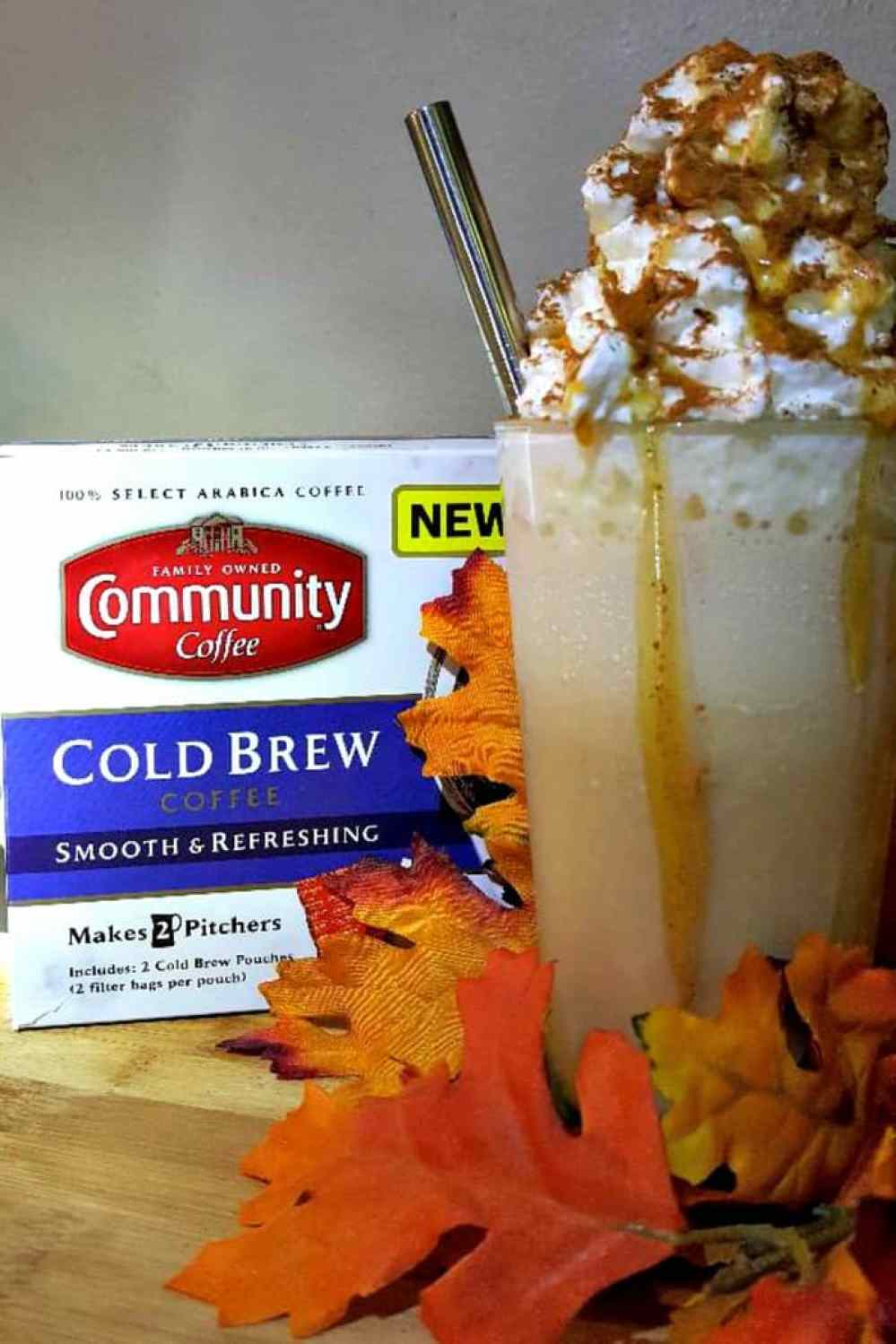 community coffee salted coffee pumpkin spice frozen coffee close up