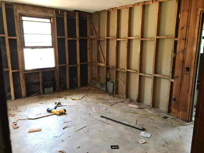 dad's house home remodel bare walls in great room