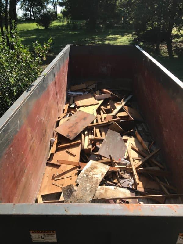 dad's house kitchen demo dumpster