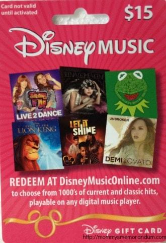 disney digital music gift card