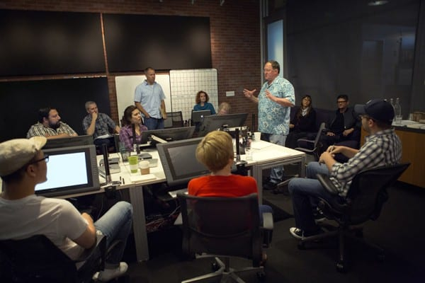 """Director John Lasseter works with members of his story team on Disney•Pixar's """"Toy Story 4,"""" a new chapter in the lives of Woody, Buzz Lightyear and the """"Toy Story"""" gang. Photo by Deborah Coleman / Pixar. ©2014 Disney•Pixar. All Rights Reserved."""