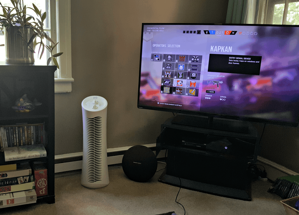 febreeze air purifier tower in room