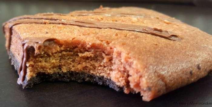 fiber one chocolate cheese cake bar with bite eaten
