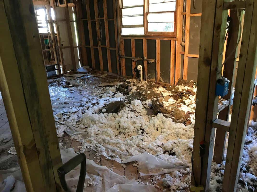 home remodel fluff from ceiling on tarps