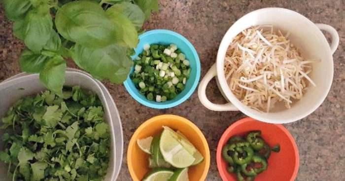 instant pot chicken pho gao garnishes