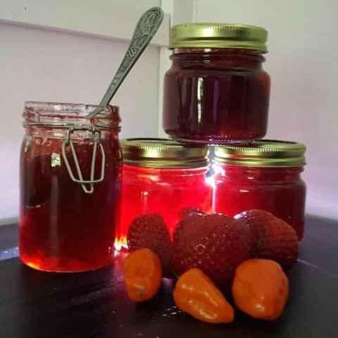 instant pot strawberry habanero preserve recipe with light