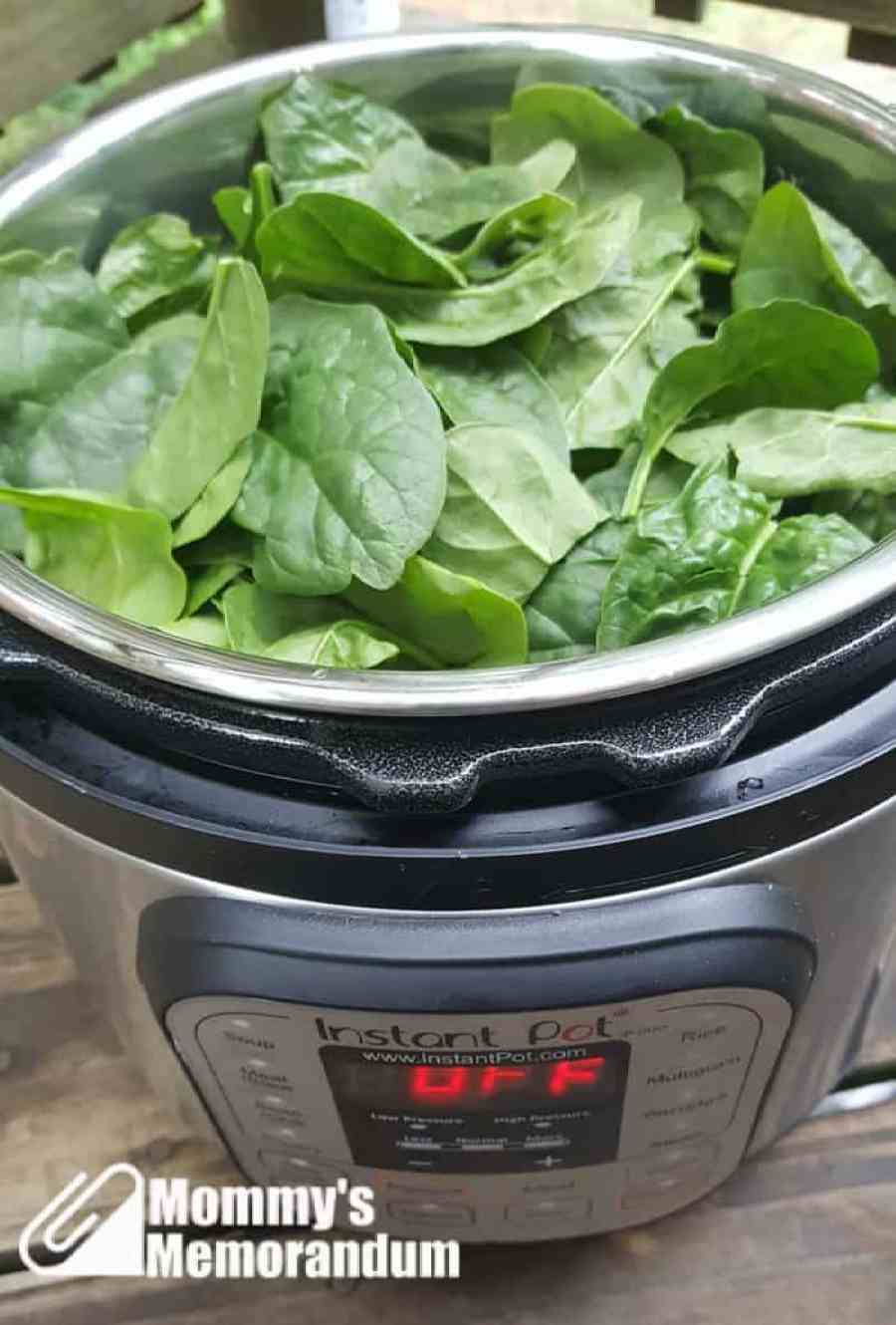 Instant Pot Recipe: Chicken with Mushrooms and Artichoke Hearts adding the spinach