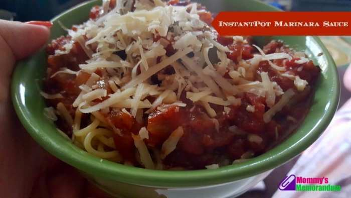 instantpot marinara sauce topped with cheese