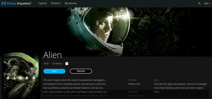 movies anywhere alien