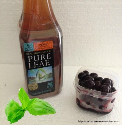 peach blueberry basil iced tea