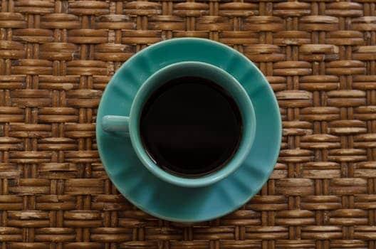 cane furniture, coffee on rattan table