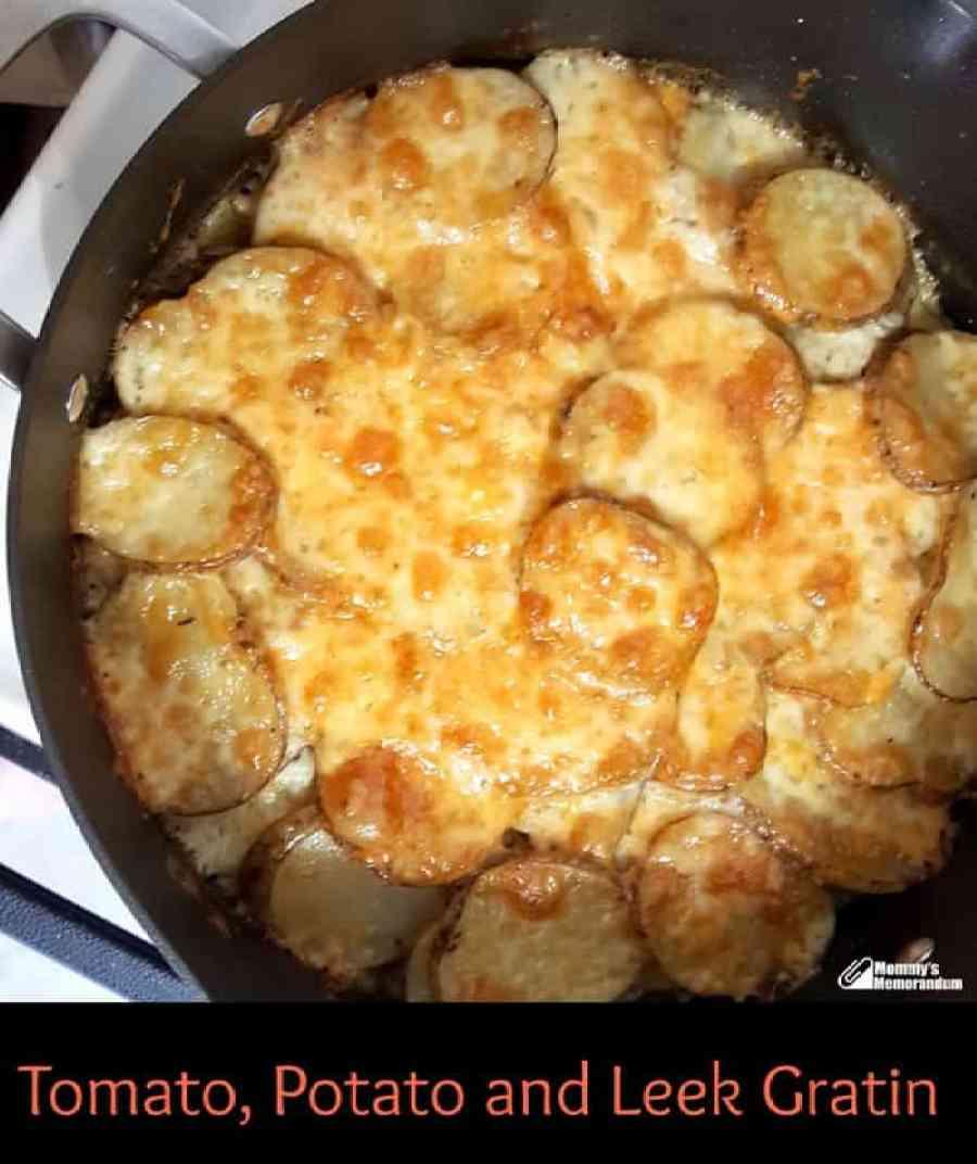 potato, potato and leek gratin