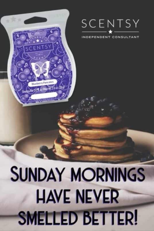 Sunday Mornings have never smelled better. Scentsy Blueberry Pancakes wax bar
