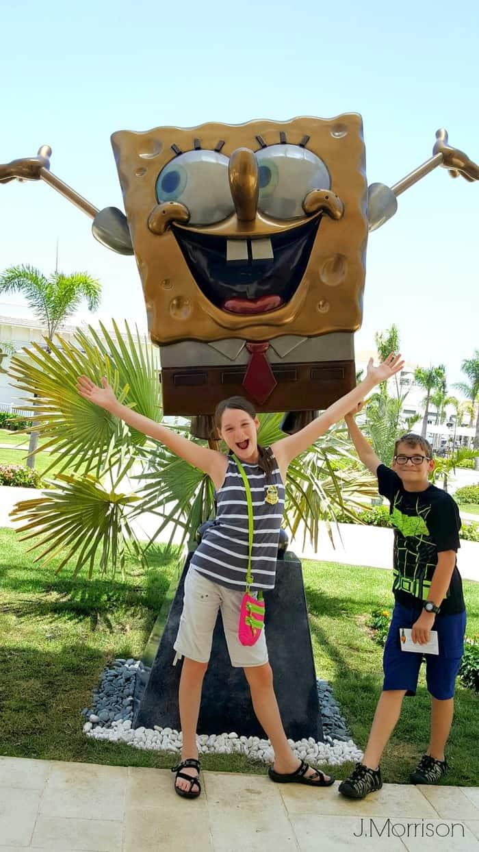 spongebob statue greets you to Nickelodeon Resorts Punta Cana