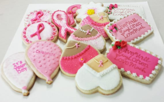stella and flo Hand-Decorated Cookies  cancer awareness cookies