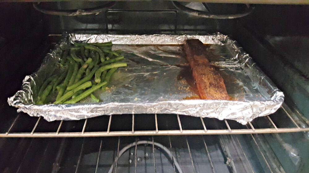 terras kitchen salmon and greenbeans going into oven