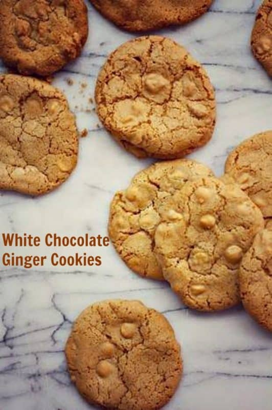 white chocolate ginger cookies