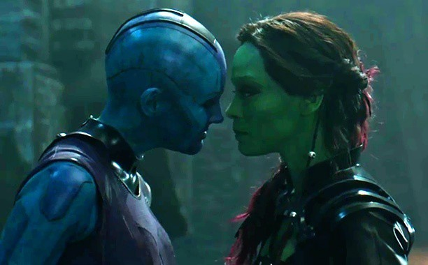 zoe saldana as gamora with nebula