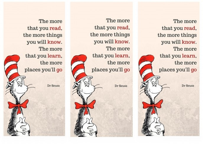 Download Your Free Printable Cat In The Hat Bookmark Mommy Snippets